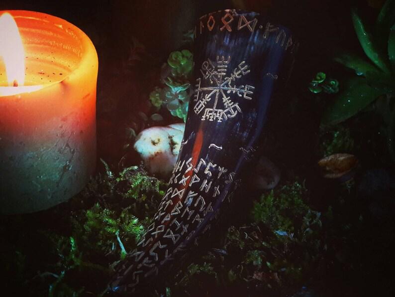 Drinking Horn   Honey Mead  Vikings  Runes  Sigils  Pagan image 0