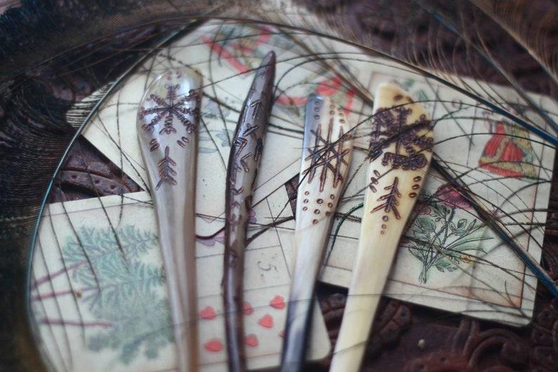 Viking Horn Hairpin  Runes  Sigils image 0
