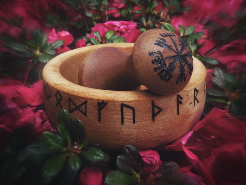 Mortar and Pestle with Runes  futhark  wooden  SALE  image 0