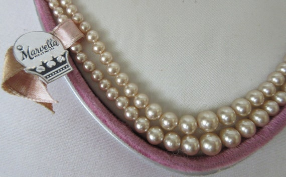 Vintage signed MARVELLA Faux Pearl Double Strand … - image 3