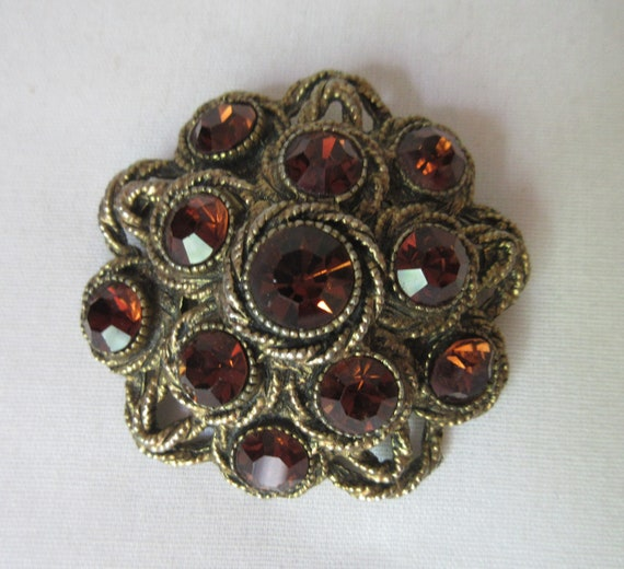 "Stunning signed HAR Vintage Brooch with ""Topaz"" Rh"