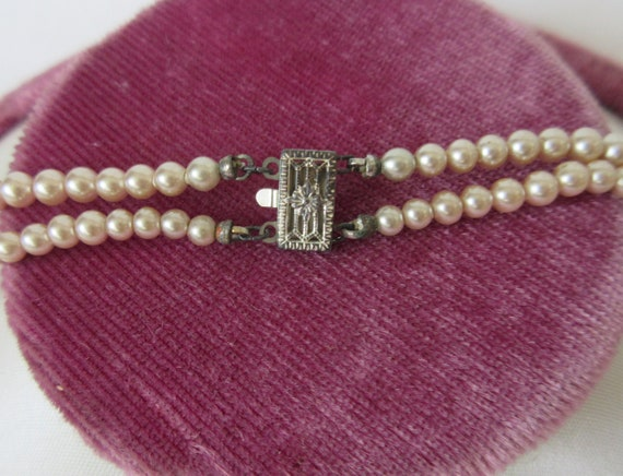 Vintage signed MARVELLA Faux Pearl Double Strand … - image 5