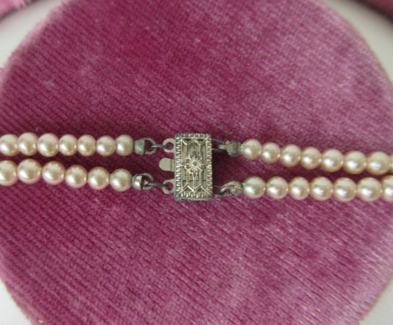 Vintage signed MARVELLA Faux Pearl Double Strand … - image 4