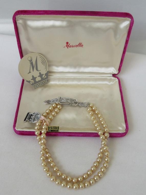 Vintage MARVELLA Faux Pearl 2 strand Necklace wit… - image 1