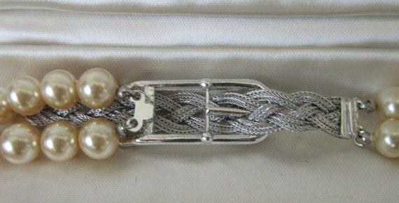 Vintage MARVELLA Faux Pearl 2 strand Necklace wit… - image 3