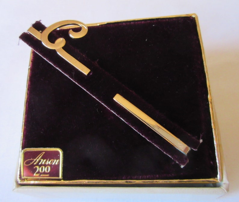 Vintage signed Anson and Marked Initial C Tie Bar