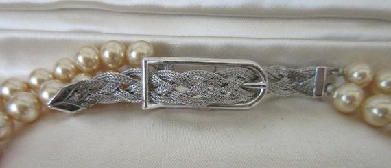 Vintage MARVELLA Faux Pearl 2 strand Necklace wit… - image 4