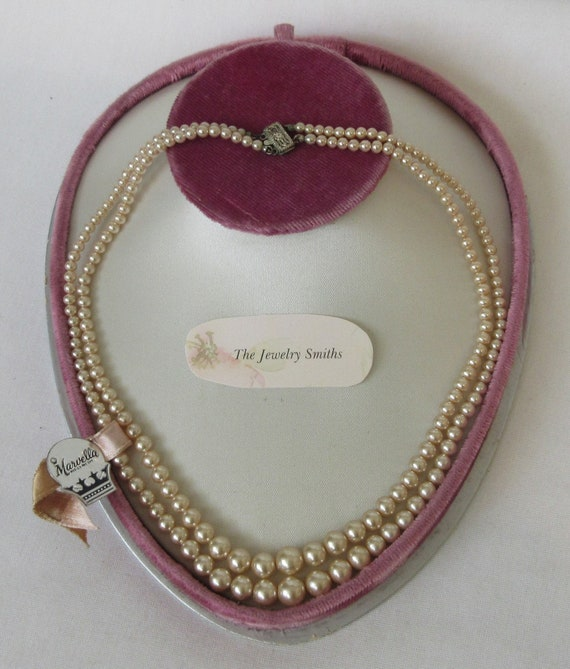 Vintage signed MARVELLA Faux Pearl Double Strand N