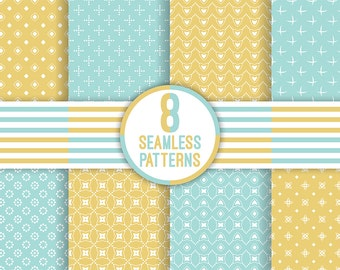 8 vector seamless patterns. Digital paper. Scrapbook. Packaging and wrapping paper. AI+EPS10+JPEG+PNG