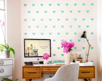 Sweet Heart  Wall Decals Geometric Decal Peel and stick Nursery Wall Decals, heart mural, Vinyl Wall Decal AI007