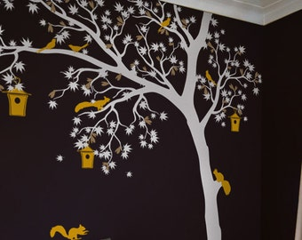 White tree wall decal Large wall decal for nursery Large white tree and birds sticker Wall art Kids room decor– AM002