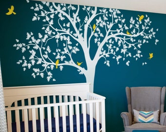 Oak tree decal White tree decal for nursery Removable wall decal Mural sticker for wall Tree and birds decal Nature wall decal -AM012