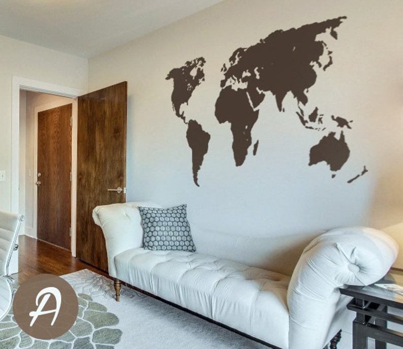World Map Decal Temporary Wall Decor Office Wall Decal World Etsy