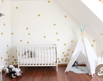 Gold Polka dot Wall Decals Geometric Decal Peel and stick Nursery Wall Decals, dots mural, Vinyl Wall Decal AI008