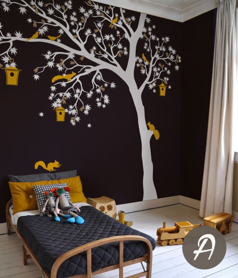 white tree wall decal large wall decal for nursery large white | etsy