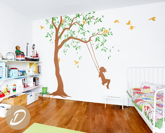 Nursery Tree decal with swings and birds Large tree vinyl | Etsy