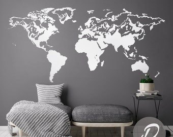 World map wall decal peel and stick vinyl or fabric map of the world decal wall map decal world map sticker world map wall decal vinyl gumiabroncs Choice Image