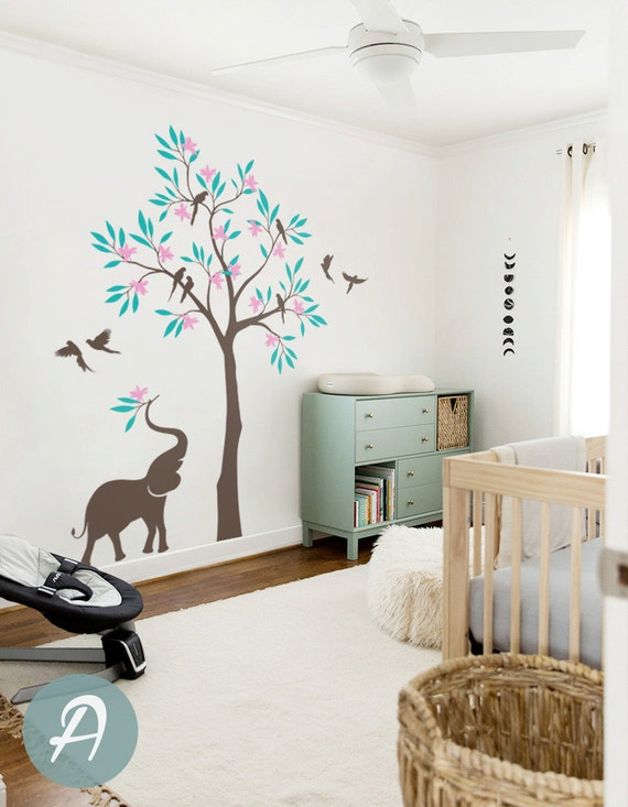 tree wall decal birds and elephant tree decal wall mural | etsy