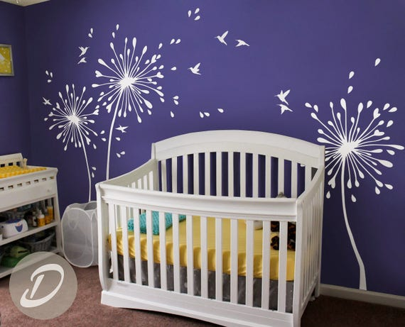 & White Dandelion Wall Decal With birds Large nursery wall decal