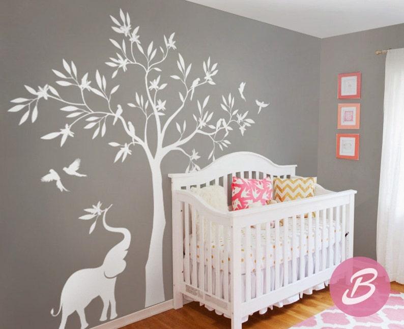 Sticker Mural Arbre Blanc Sticker Mural Avec éléphant Sticker Mural Grand Arbre Décoration Murale Pour Chambre De Bébé Et Enfants Chambre Formes