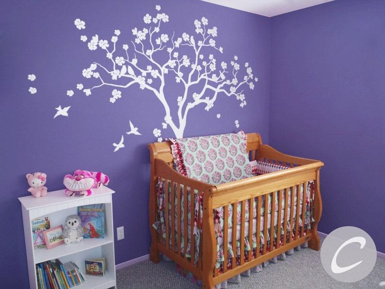 Sticker Mural Arbre Blanc Pour Arbre Grande Crèche Avec Autocollant Oiseaux Amovible Art Enfants Grande Chambre Bébé Murale Living Bouleau