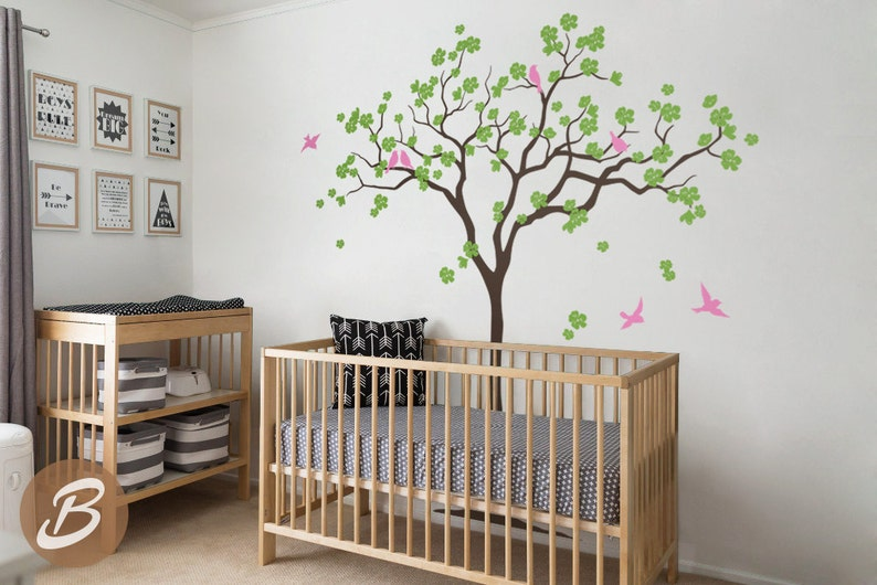 . Nursery tree wall decal Large tree wall decal Tree with birds decal Wall  mural sticker Kids room wall art Nursery tree wall sticker  AM021