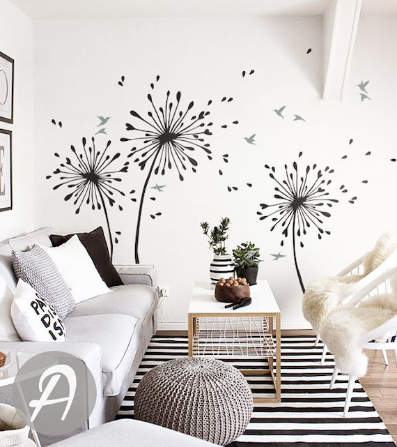 Dandelion Wall Decal With birds Large nursery wall decal Wall   Etsy