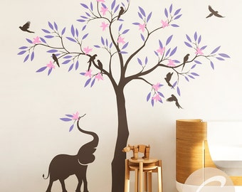 Nursery tree wall decal, Wall decal with elephant, Large tree wall decal, Wall decor for nursery and kids room Vinyl shapes decal -AM014