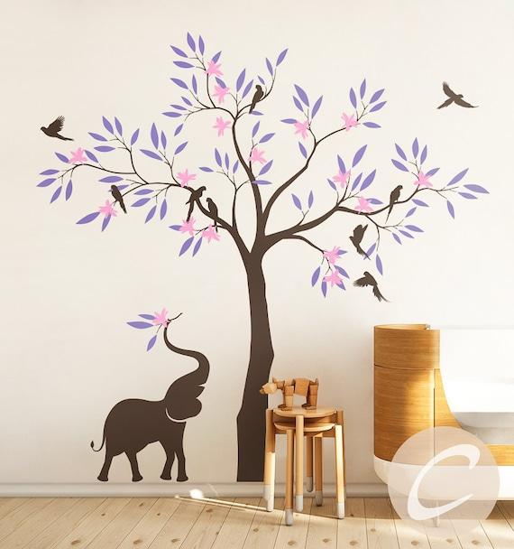 Sticker Mural de chambre de bébé arbre, sticker mural avec éléphant,  sticker mural grand arbre, décoration murale pour chambre de bébé et  enfants ...