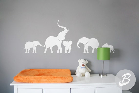 elephant wall decal nursery wall decal large wall decor with | etsy