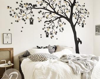 Large tree wall sticker / Tree birds wall sticker / Tree  wall art tattoo /  Large wall sticker for nursery Wall decal for nursery  -AM002