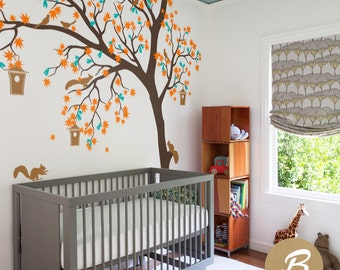 Large tree sticker Tree and birds wall sticker Tree and birds wall art tattoo Large wall sticker for nursery Wall decal for nursery  -AM002