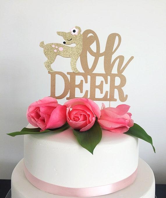 21fccaff343f7 Oh Deer cake topper, Baby Shower Deer decorations, Deer theme, Baby Shower  cake topper