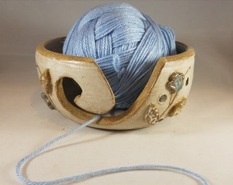 Small Yarn Bowl, Handmade Pottery, Gift for Knitters, Gift for Crocheters, Earthtones, Flowers and Leaves