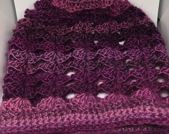 Petunia Shells Slouchy Beanie, Slouchy Hat, Beanie, Hat, Purple