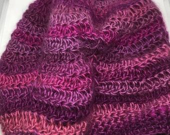 Petunia Ripples Slouchy Beanie, Slouchy Hat, Beanie, Hat, Purple