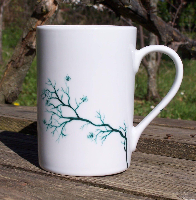 mug tasse a personnaliser arbre en fleurs peint etsy. Black Bedroom Furniture Sets. Home Design Ideas