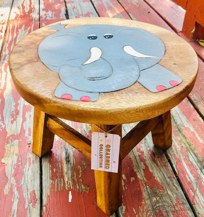 Astonishing Cute Elephant Painted Childrens Wood Stool Charmed Collection Short Links Chair Design For Home Short Linksinfo
