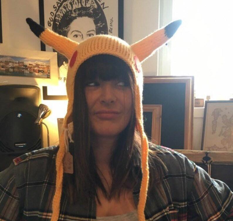 Pokemon inspired Pikachu ear flap hat acrylic yarn vegan friendly ooak