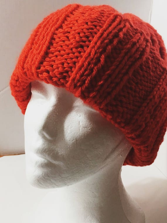 f7d89481cad Chunky Ribbed Slouchy Mock Cable Knitted Beanie Hat Bright