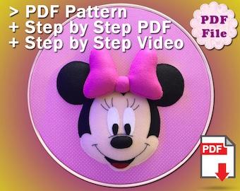 Minnie Mouse PDF Pattern, Felt Pattern, Plush Pattern