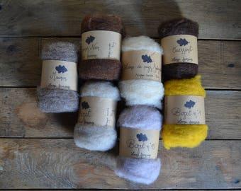 Mèches de laine cardée française