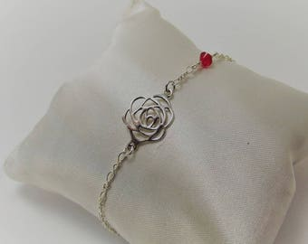 Flower bracelet rose and Swarovski Pearl Silver 925