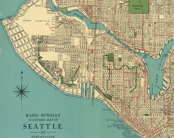 graphic regarding Printable Map of Seattle known as Seattle road map Etsy