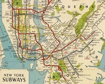 New York Subway Map Etsy