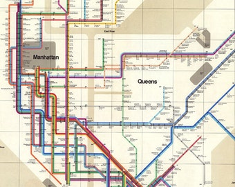 New york subway map | Etsy