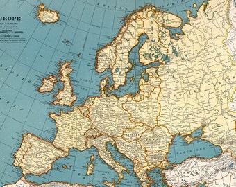 1923 Old Europe map printable digital download.Vintage Europe | Etsy