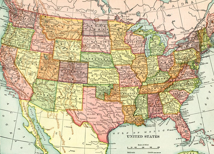 Old Map Of United States Of America Map Digital Download Etsy - Full-map-of-us