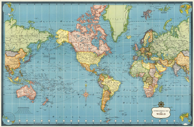 picture about Printable Atlas named Antique Global electronic map print. Environment map printable poster. Atlas nursery place print.