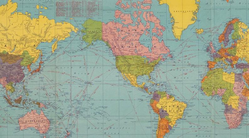Digital World Map Printable High Resolution World Map Poster Etsy